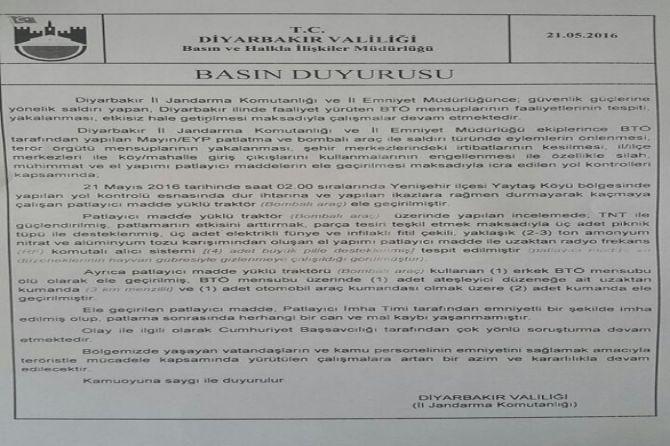 Diyarbakır Valiliği'nden bombalı traktör açıklaması galerisi resim 10