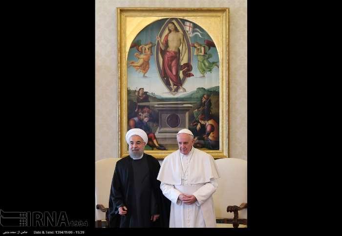 İran Cumhurbaşkanı Ruhanı ve Papa Francisus görüşmesinden kareler galerisi resim 5