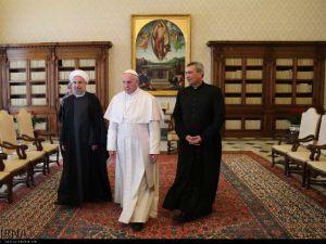 İran Cumhurbaşkanı Ruhanı ve Papa Francisus görüşmesinden kareler