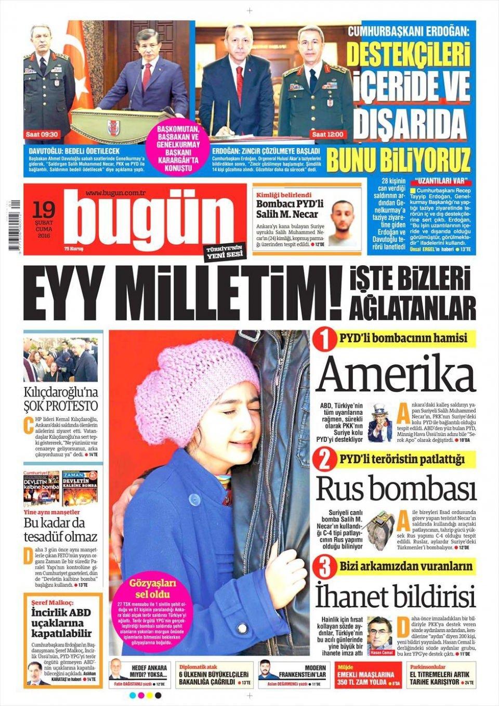 19 Şubat 2016 Günü gazete manşetleri galerisi resim 1