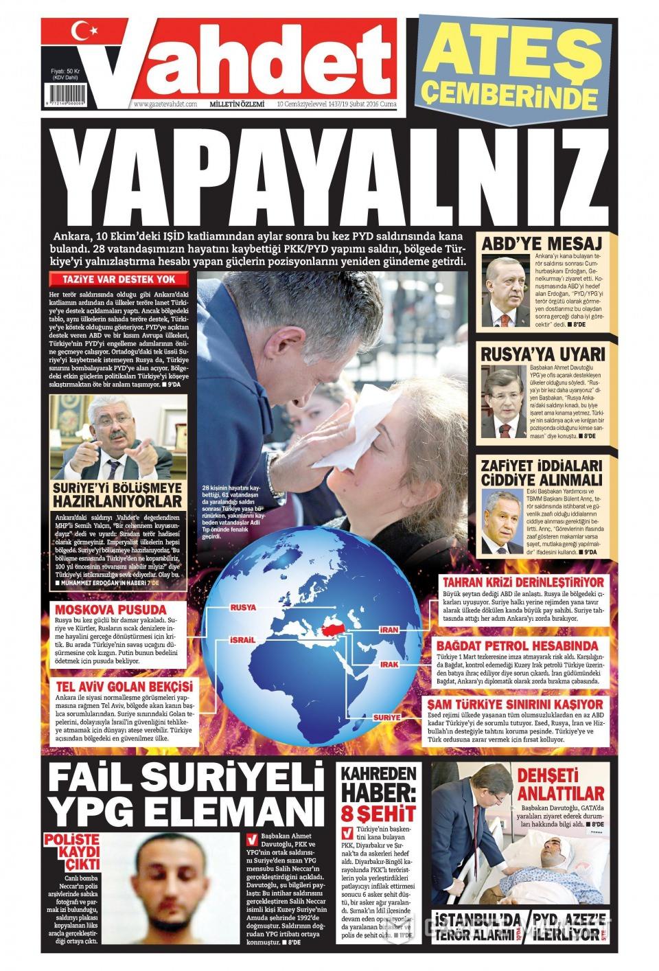 19 Şubat 2016 Günü gazete manşetleri galerisi resim 14