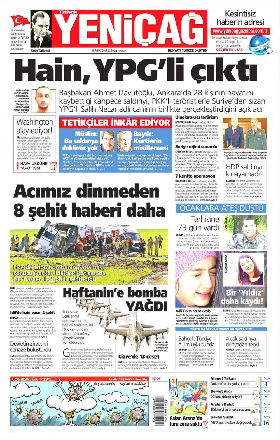 19 Şubat 2016 Günü gazete manşetleri galerisi resim 15