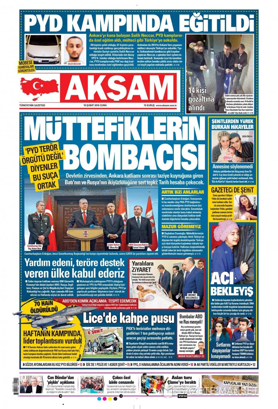 19 Şubat 2016 Günü gazete manşetleri galerisi resim 16