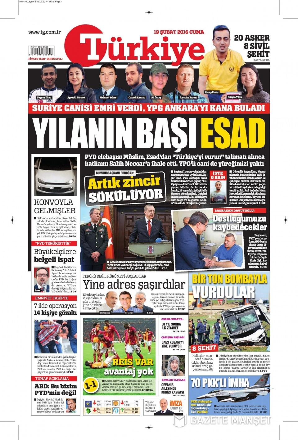 19 Şubat 2016 Günü gazete manşetleri galerisi resim 18