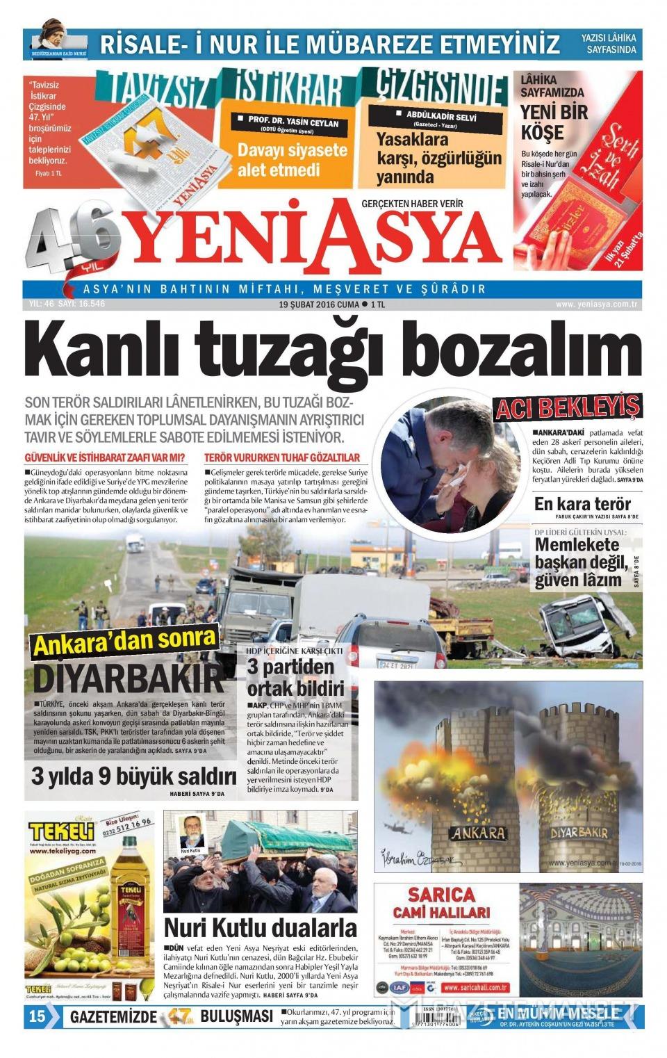 19 Şubat 2016 Günü gazete manşetleri galerisi resim 20