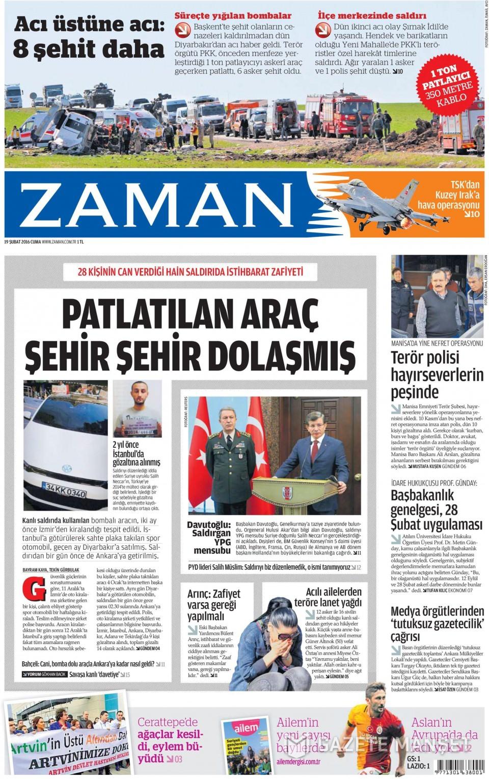 19 Şubat 2016 Günü gazete manşetleri galerisi resim 21