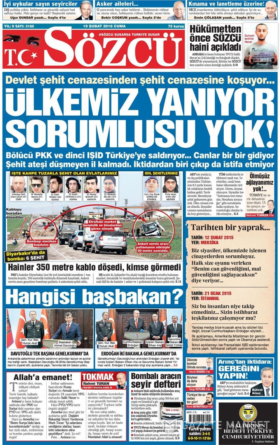 19 Şubat 2016 Günü gazete manşetleri galerisi resim 25