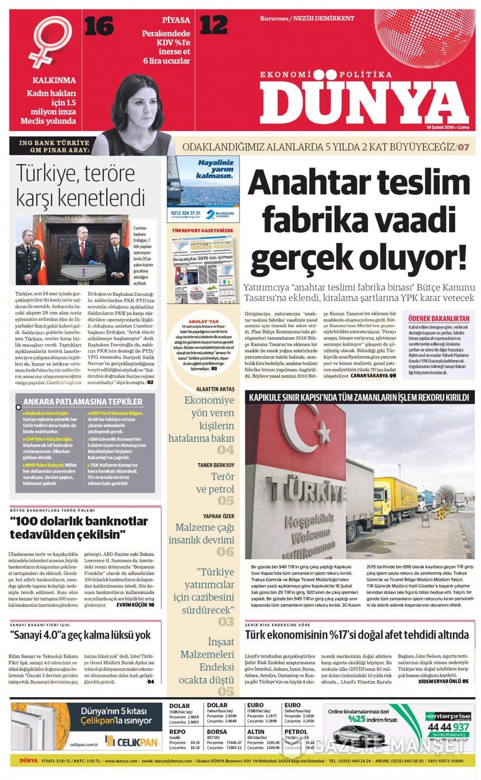 19 Şubat 2016 Günü gazete manşetleri galerisi resim 27