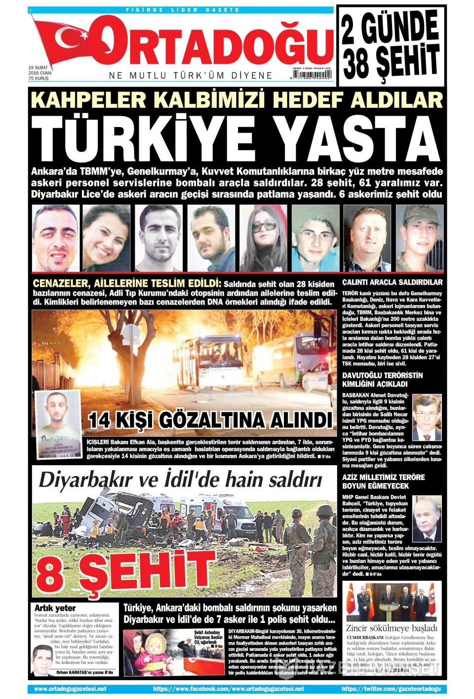 19 Şubat 2016 Günü gazete manşetleri galerisi resim 4