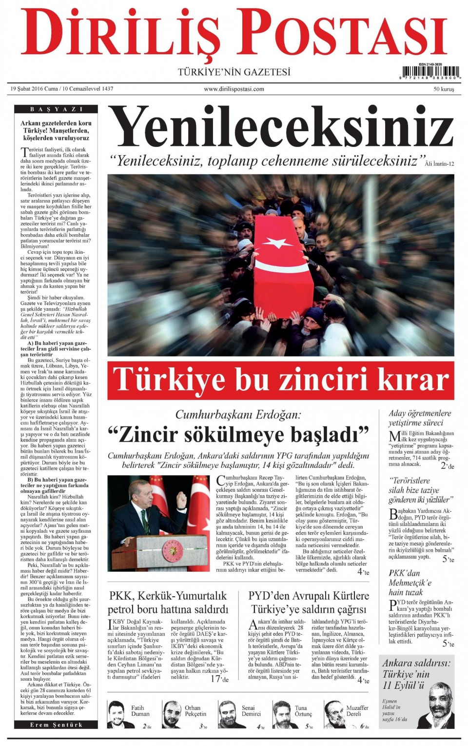 19 Şubat 2016 Günü gazete manşetleri galerisi resim 8