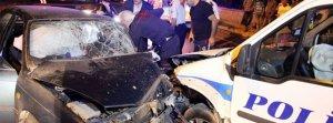 Kayseri'de polis aracı ile otomobil çarpıştı
