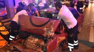 Düğün konvoyunda kaza:3 yaralı