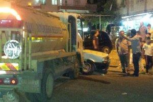 Belediye'nin Su tankeri otomobile çarptı: 1 yaralı