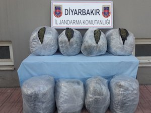 Diyarbakır'da, 100 kilo esrar ele geçirildi