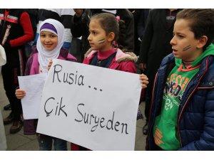 Gaziantep'te sığınmacılar Rusya'yı protesto etti