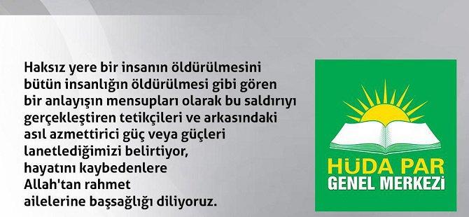 HÜDA PAR'dan Ankara saldırısına sert tepki