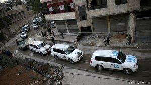 BM, 50 kamyonluk yardım Muadamiye'ye ulaştırıldı