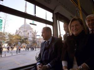 Erdoğan otobüsle yolculuk etti