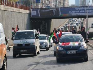 Şanlıurfa'da Kudüs için araç konvoyu