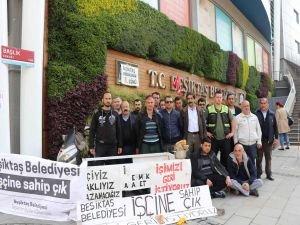 İşten çıkarılan belediye işçilerinden oturma eylemi