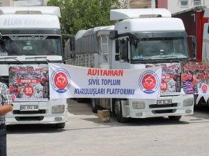 Adıyaman'dan Afrin'e 20 TIR yardım
