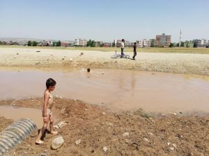 Tepkilere aldırmadan çamurlu suda yüzdüler