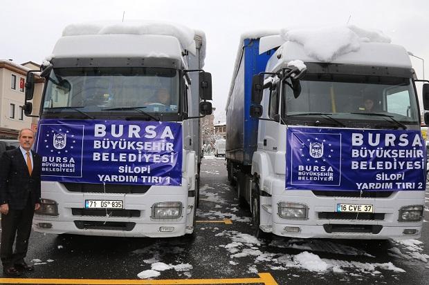 Bursa'dan Silopi'ye 2 TIR yardım