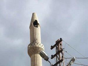 Kilis'te cami minaresine yıldırım düştü