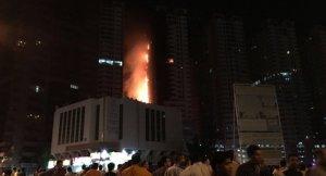 Birleşik Arap Emirlikleri Ajman kentinde gökdelen yangın
