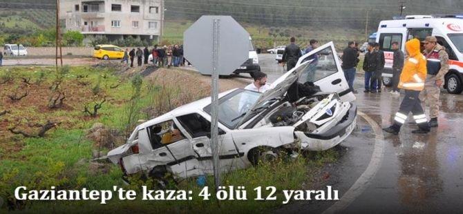 Gaziantep'te kaza: 4 ölü 12 yaralı