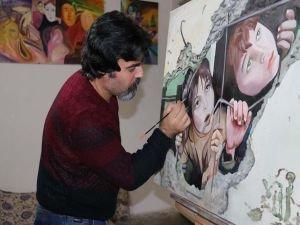 Çizdiği resimlerle Suriye dramını dünyaya duyuruyor