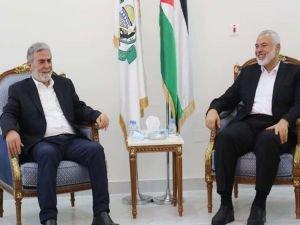 HAMAS lideri Heniyye İslami Cihad Hareketi Genel Sekreteri Nehhale ile görüştü