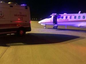 Uçak ambulans iki hasta için havalandı