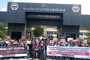 MÜ Öğrencileri katil Esed'i ve onun işbirlikçilerine protesto