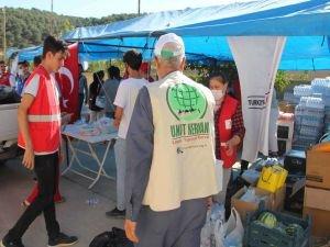Umut Kervanı ve IHO-EBRAR yangın mağdurlarına yardım ulaştırdı