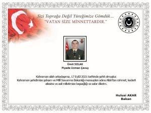 """MSB: """"Avaşin bölgesinde bir askerimiz şehit oldu"""""""