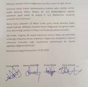 MHP'de muhalif isimlerden bildiri
