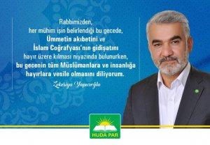 Yapıcıoğlu'ndan 'Berat Kandili' tebrik mesajı