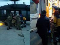 Düşük yapan hamile kadın helikopterle hastaneye yetiştirildi