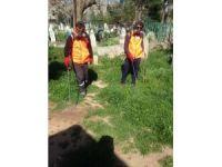 Mezarlıklarda otla mücadele çalışması başladı