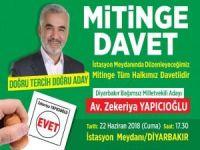 Yapıcıoğlu Diyarbakır'da miting yapacak