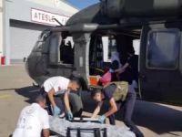 Helikopter ile havadan sıhhi tahliye yapıldı