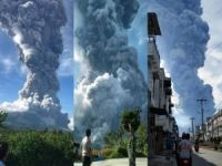 Sinabung yanardağı patladı