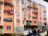 Yangında mahsur kalan çocukların kurtarılma anı yürekleri ağza getirdi