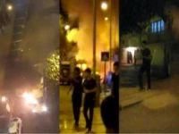 Minibüsü ateşe veren PKK'lılar kameralara takıldı
