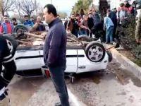 Refüje çarparak takla atan otomobil kazasında 3 kişi yaralandı