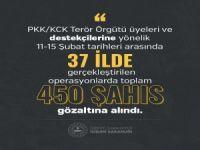 PKK/KCK 'ye yönelik 37 ilde gerçekleştirilen operasyonlarda 450 kişi gözaltına alındı