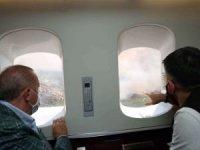 Cumhurbaşkanı Erdoğan orman yangınlarını havadan inceledi