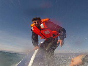 Edremit'te batan tekneden kurtarma görüntüleri paylaşıldı